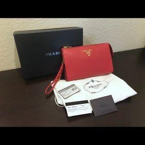 Prada Saffiano Leather Pouch / Clutch / Wristlet